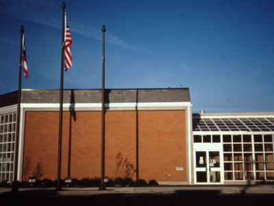 photo of library building in the 90's