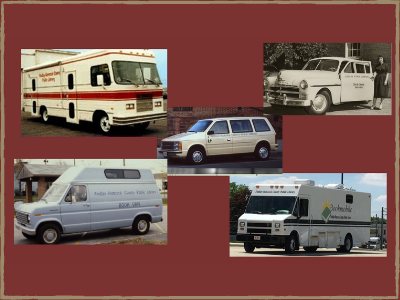 photo of five different bookmobiles through the years